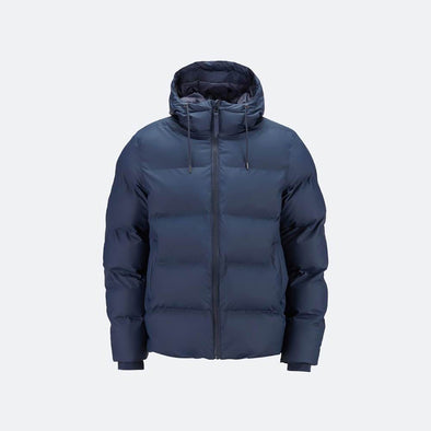 Navy blue waterproof insulated winter puffer jacket.