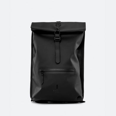 Black minimalist waterproof backpack with a roll-top closure and an adjustable strap featuring a loop for a bike lock or similar.