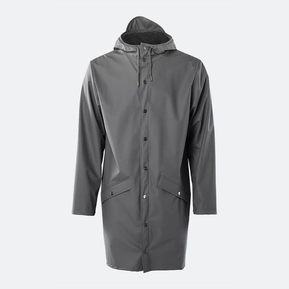 Unisex grey casual raincoat with double welded slanting pocket flaps, adjustable cuffs and a fishtail.