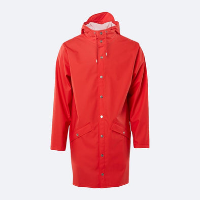 Unisex red casual raincoat with double welded slanting pocket flaps, adjustable cuffs and a fishtail.