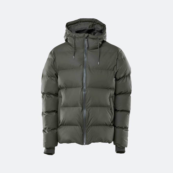 Grey waterproof insulated winter puffer jacket.