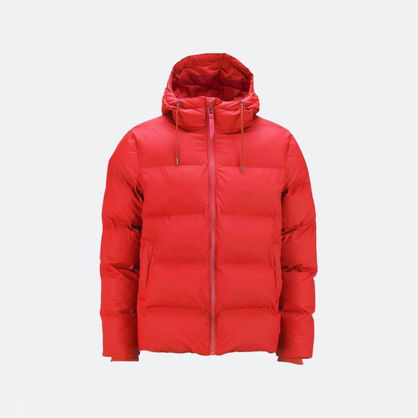 Red waterproof insulated winter puffer jacket.