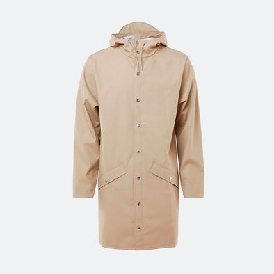 Beige long rain jacket.
