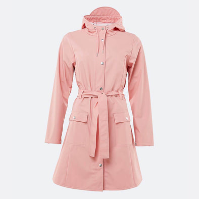Coral long rain jacket with belt.