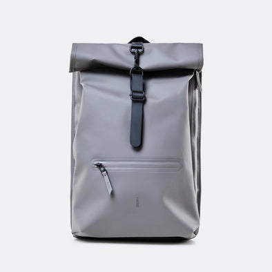Roll top rucksack in charcoal.