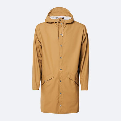 Unisex beige casual raincoat with double welded slanting pocket flaps, adjustable cuffs and a fishtail.