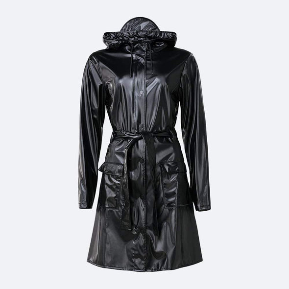 Classic yet practical shiny black rain jacket inspired by the timeless trench coat.