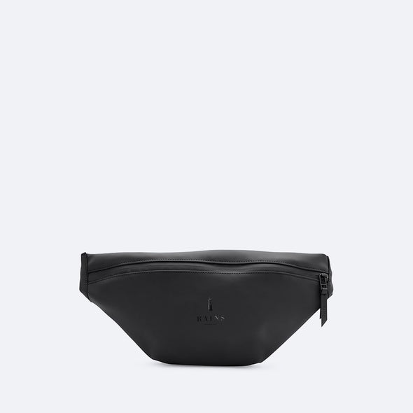 Waterproof black bum bag with a matte finish.