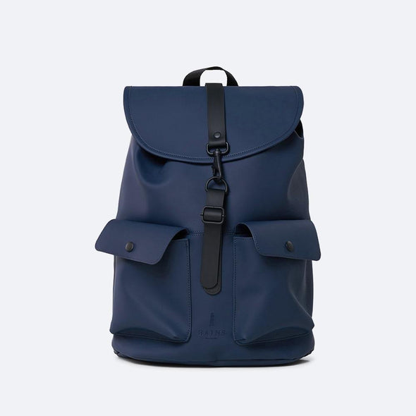 Navy blue backpack with a drawstring top closure, top flap with PU strap and carabiner buckle closure.