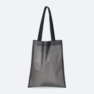 Minimalist shopper bag in foggy black waterproof synthetic material.