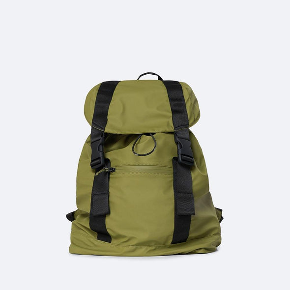 Minimalist rucksack in sage green waterproof synthetic material.