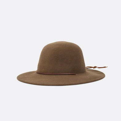 Brown wide-brim round-top felt hat with a leather strap.