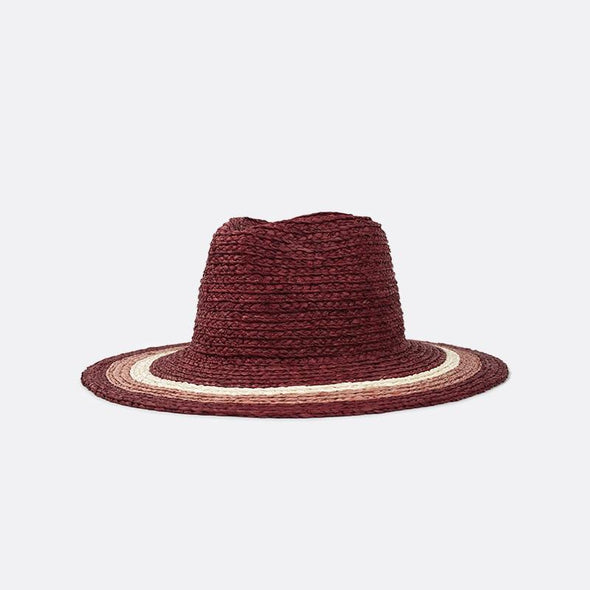 Wide-brim straw hat with custom engineered colored straw stripes.