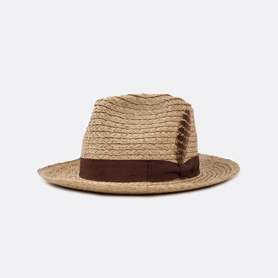 Medium-brim straw fedora featuring a grosgrain band with feather.