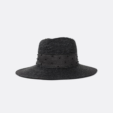 Black wide straight-brim straw fedora featuring a woven straw and beaded outside band.