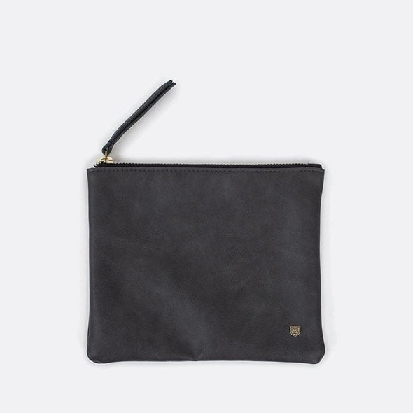 Black faux-leather clutch wallet featuring a custom liner and 8-mm. metal Brixton B shield.