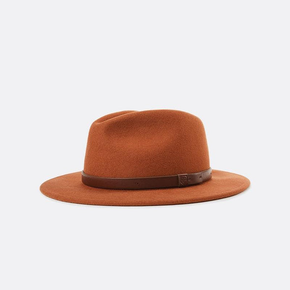 Tan medium flat-brim fedora hat.