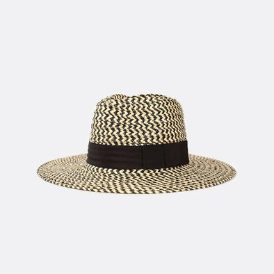 Wide-brim straw hat with a black grosgrain band.