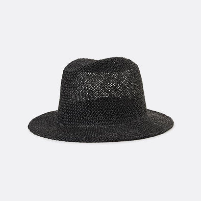 A black medium-brim open-weave straw hat with an elastic sweatband.