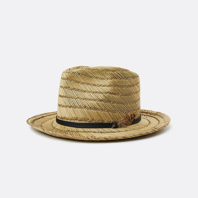 A medium-brim straw fedora featuring a grosgrain band with feather.