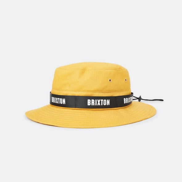 Yellow short-brim cotton bucket hat featuring a screen printed nylon outside band and an adjustable nylon drawcord.