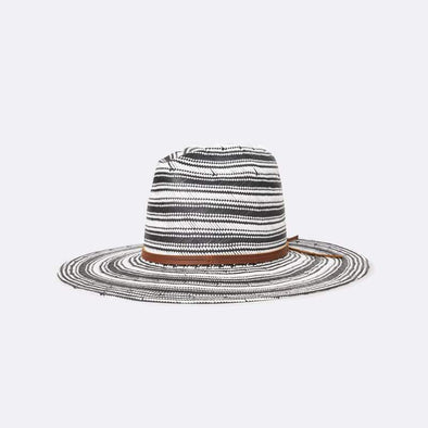 Wide-brim, tall-crown straw hat featuring a custom engineered stipe pattern and a leather band.