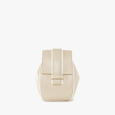 Geometrical backpack in off-white leather