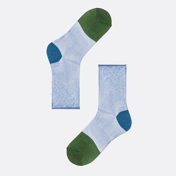 Light blue socks with blue heel and green toe.