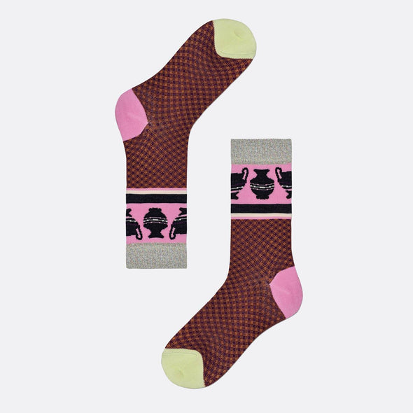 Multicolor red pattern socks with pink toe and light yellow heel featuring jars illustrations.
