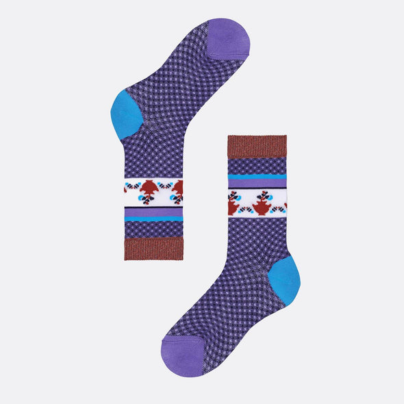 Multicolor purple pattern socks with blue heel and purple toe featuring jars of flowers illustrations.