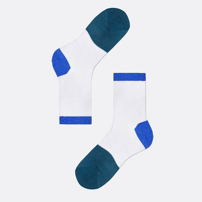 White socks with two different tones of blue in the heel and toe.
