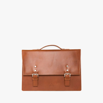 Retro-style briefcase in a rectangular shape with two buckle straps, handle and detachable strap