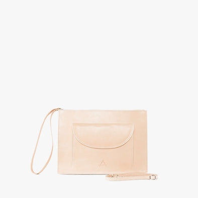 Minimalist rectangular clutch in natural chemical-free leather, zipper with leather wrist handle and detachable thin strap