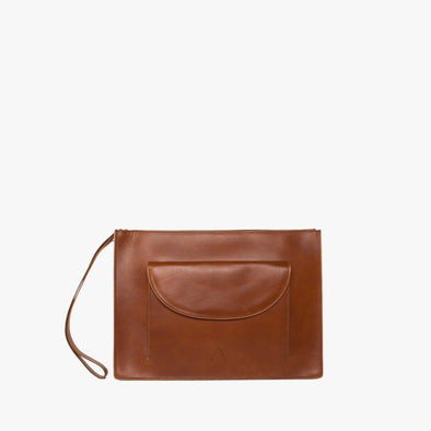 Minimalist rectangular clutch in camel chemical-free leather, zipper with leather wrist handle and detachable thin strap