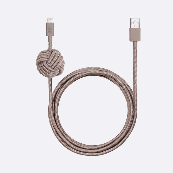Charging cable with weighted knot with reinforced nylon braiding withstands wear & tear.