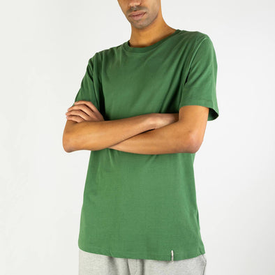 100% organic cotton regular fit green tee with a round neck.
