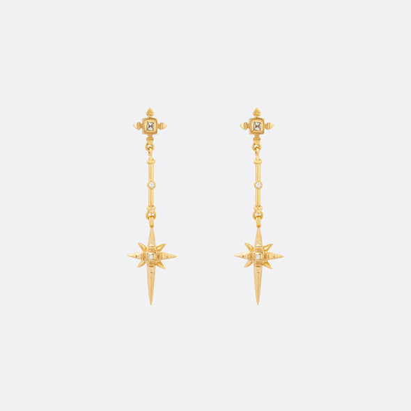 Golden stud holds a cross earrings with zircons.