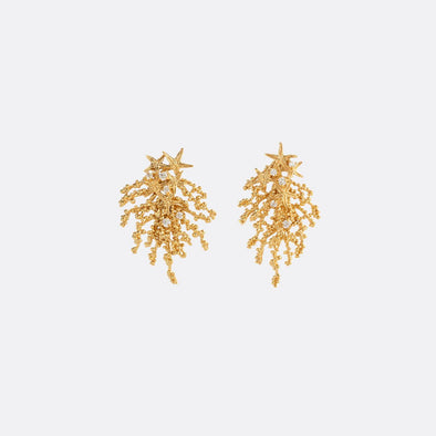 Golden earrings with unique sea floral-like shape featuring zircons.