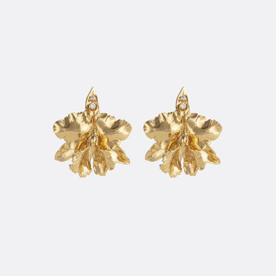 Golden orquidea earrings featuring zircons.