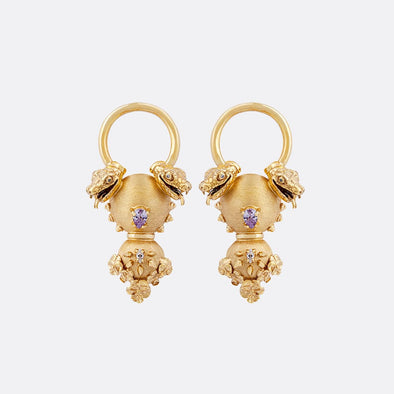 Medium gold plated earrings with snake motifs and zircons.