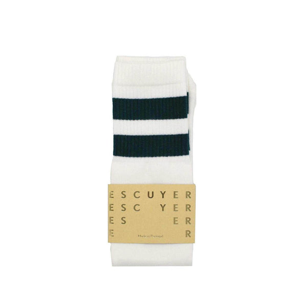 Striped tube socks inspired by the original garments of tennis players.