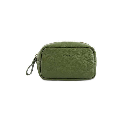 Army green wash bag made from supple Italian full-grain leather.