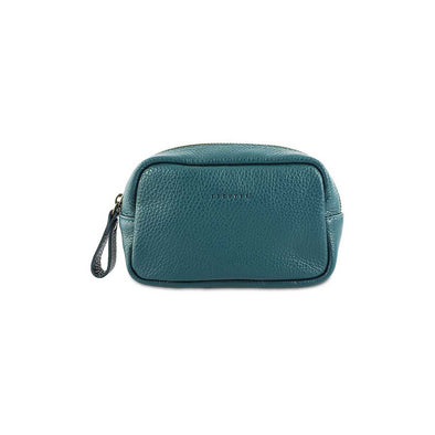 Bottle green wash bag made from supple Italian full-grain leather.