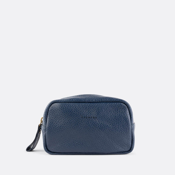 Navy blue wash bag made from supple Italian full-grain leather.