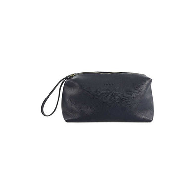 Dark blue wash bag made from supple Italian full-grain leather.