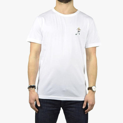 Relaxed fit white t-shirt with embroidery football player on the chest.