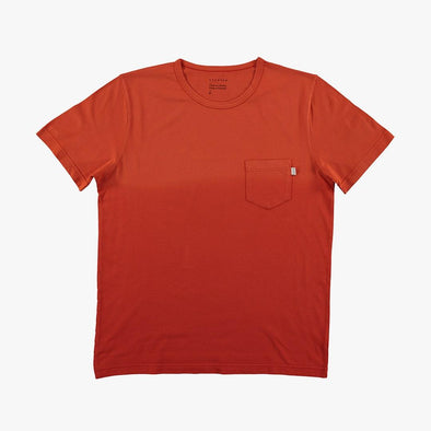Relaxed fit red dregradé t-shirt with chest pocket.
