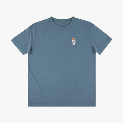 Relaxed fit blue t-shirt with embroidery astronaut on the chest.