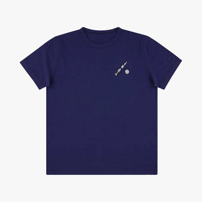 Relaxed fit navy blue t-shirt with embroidery rocket on the chest.