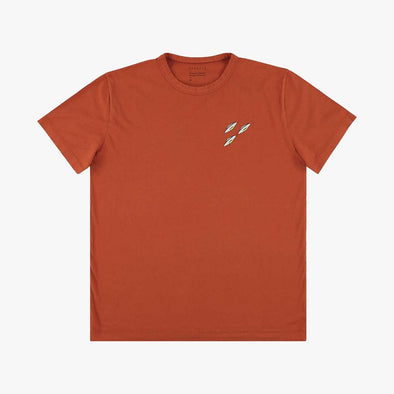 Relaxed fit orange t-shirt with embroidery flying sorcerer on the chest.